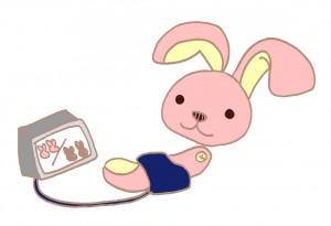 血圧を測るウサギのイラスト