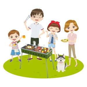 バーベキューを楽しむ家族のイラスト