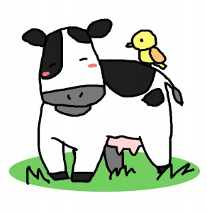 牛と小鳥のイラスト